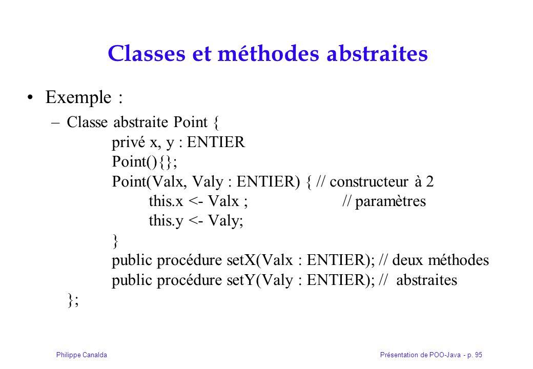 Présentation de POO-Java - p. 95Philippe Canalda Classes et méthodes abstraites Exemple : –Classe abstraite Point { privé x, y : ENTIER Point(){}; Poi