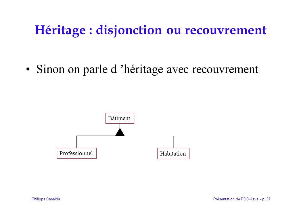 Présentation de POO-Java - p. 97Philippe Canalda Héritage : disjonction ou recouvrement Sinon on parle d héritage avec recouvrement Bâtiment Professio