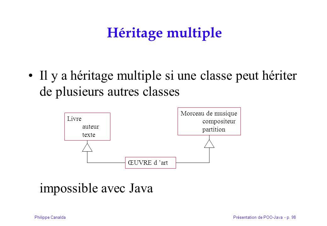 Présentation de POO-Java - p. 98Philippe Canalda Héritage multiple Il y a héritage multiple si une classe peut hériter de plusieurs autres classes imp