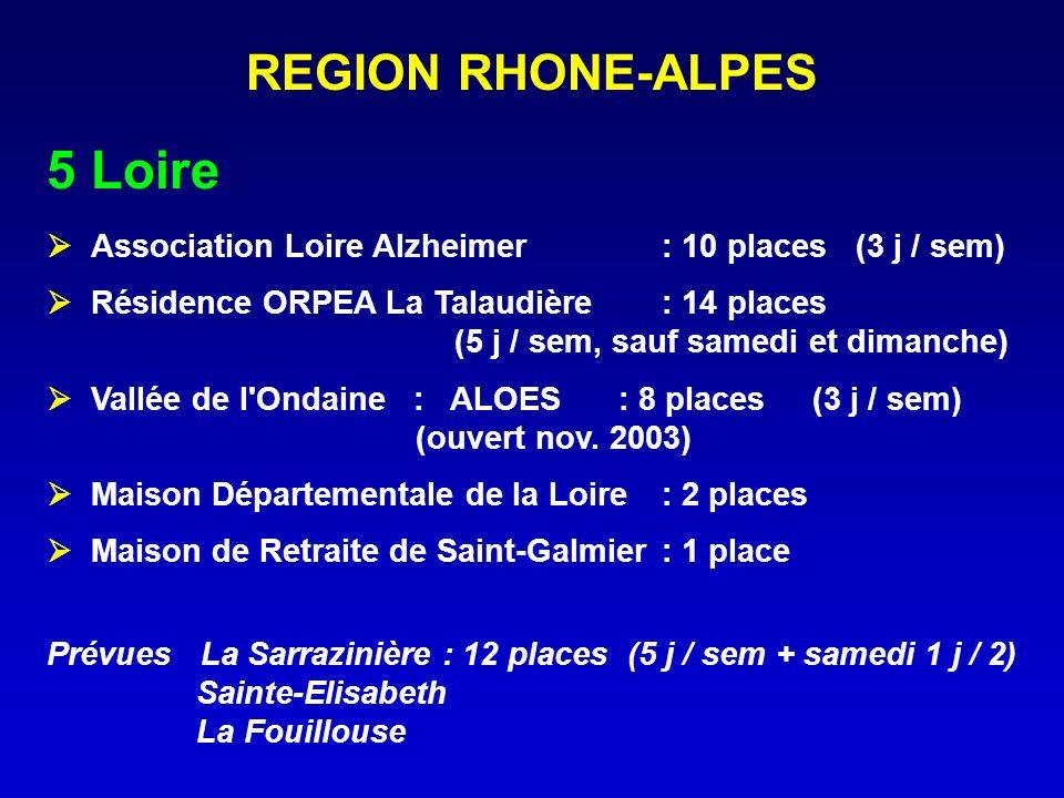 REGION RHONE-ALPES 5Loire Association Loire Alzheimer : 10 places (3 j / sem) Résidence ORPEA La Talaudière : 14 places (5 j / sem, sauf samedi et dim