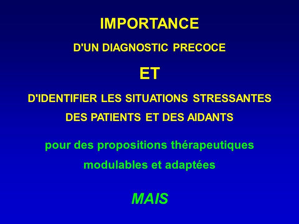 IMPORTANCE D'UN DIAGNOSTIC PRECOCE ET D'IDENTIFIER LES SITUATIONS STRESSANTES DES PATIENTS ET DES AIDANTS pour des propositions thérapeutiques modulab