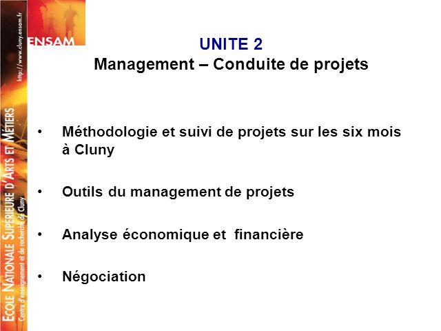 UNITE 2 Management – Conduite de projets Méthodologie et suivi de projets sur les six mois à Cluny Outils du management de projets Analyse économique