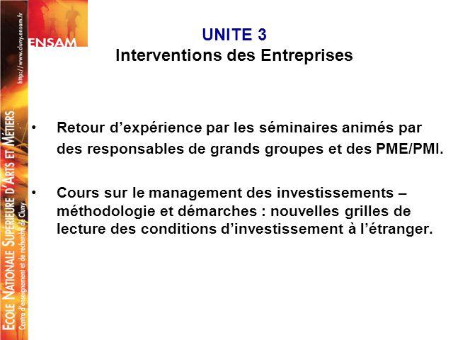UNITE 3 Interventions des Entreprises Retour dexpérience par les séminaires animés par des responsables de grands groupes et des PME/PMI. Cours sur le