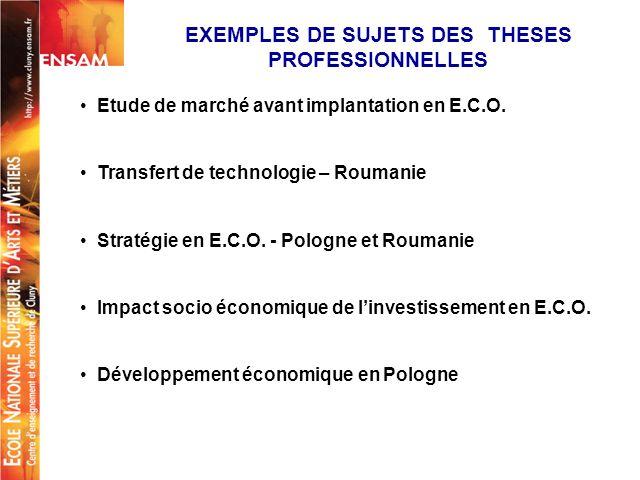 + Etude de marché avant implantation en E.C.O. Transfert de technologie – Roumanie Stratégie en E.C.O. - Pologne et Roumanie Impact socio économique d