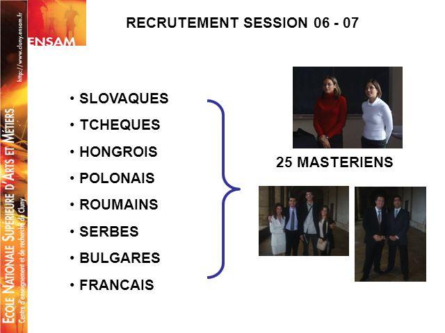 RECRUTEMENT SESSION 06 - 07 SLOVAQUES TCHEQUES HONGROIS POLONAIS ROUMAINS SERBES BULGARES FRANCAIS 25 MASTERIENS