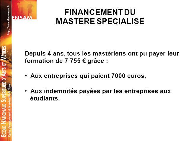 FINANCEMENT DU MASTERE SPECIALISE Depuis 4 ans, tous les mastériens ont pu payer leur formation de 7 755 grâce : Aux entreprises qui paient 7000 euros