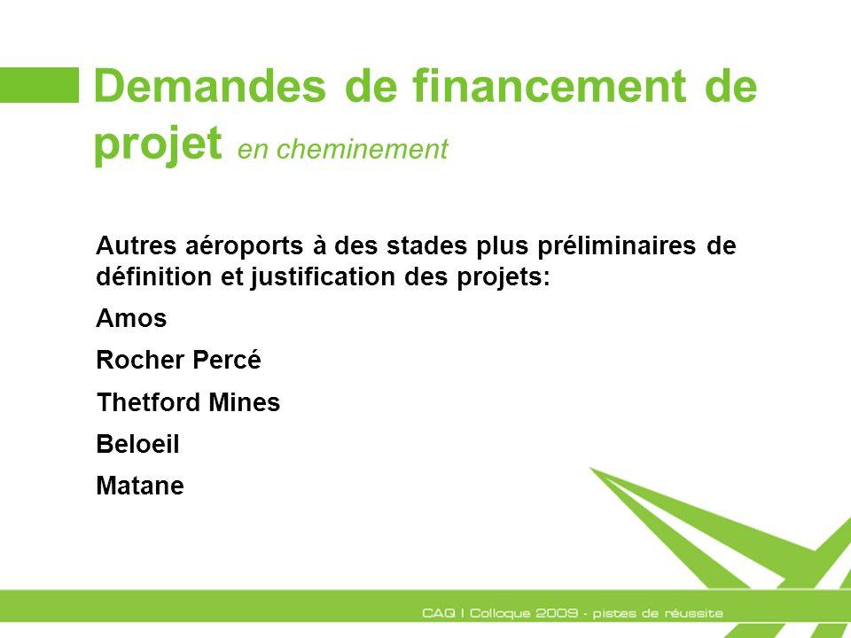 Demandes de financement de projet en cheminement Autres aéroports à des stades plus préliminaires de définition et justification des projets: Amos Roc