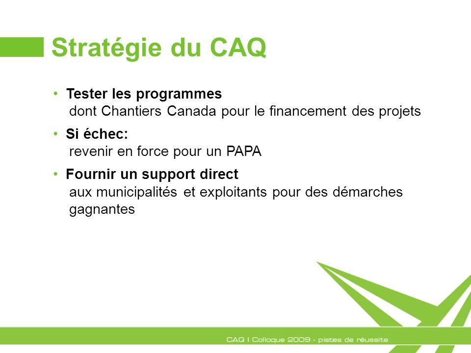 Stratégie du CAQ Tester les programmes dont Chantiers Canada pour le financement des projets Si échec: revenir en force pour un PAPA Fournir un suppor