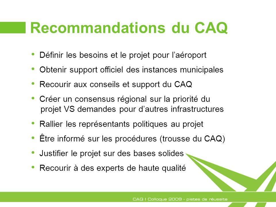 Recommandations du CAQ Définir les besoins et le projet pour laéroport Obtenir support officiel des instances municipales Recourir aux conseils et sup