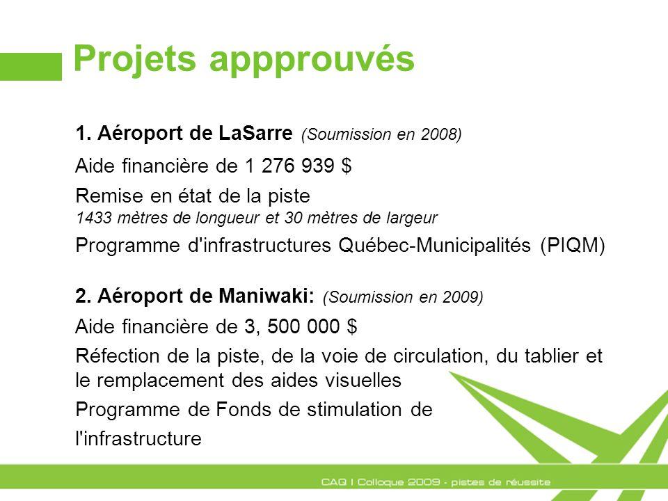 Projets appprouvés 1. Aéroport de LaSarre (Soumission en 2008) Aide financière de 1 276 939 $ Remise en état de la piste 1433 mètres de longueur et 30