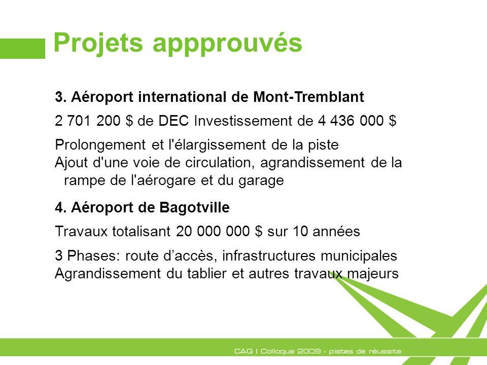 Projets appprouvés 3. Aéroport international de Mont-Tremblant 2 701 200 $ de DEC Investissement de 4 436 000 $ Prolongement et l'élargissement de la