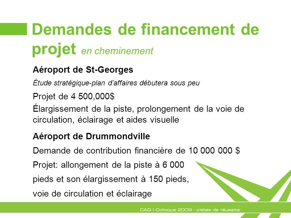Demandes de financement de projet en cheminement Aéroport de St-Georges Étude stratégique-plan daffaires débutera sous peu Projet de 4 500,000$ Élargi