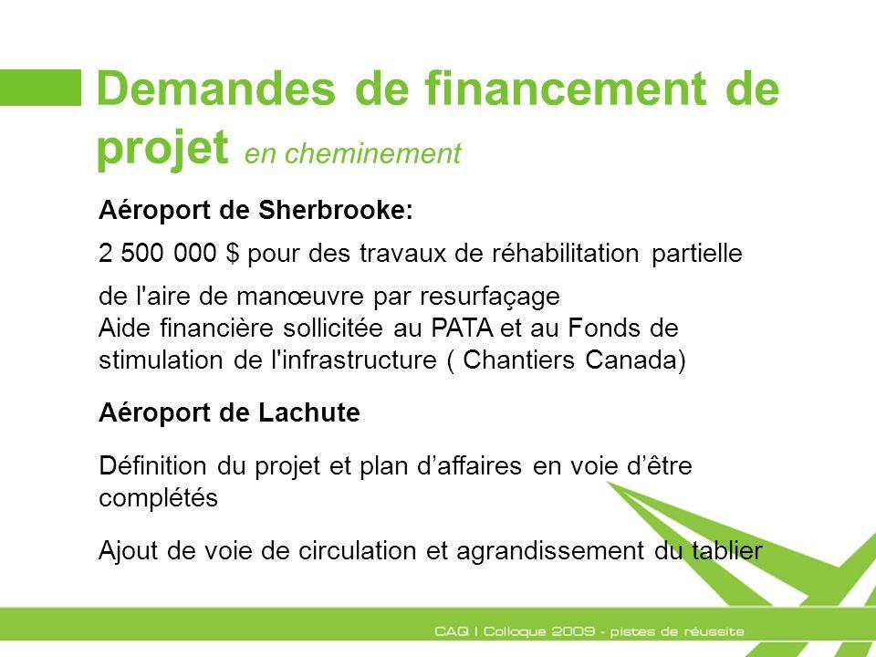 Demandes de financement de projet en cheminement Aéroport de Sherbrooke: 2 500 000 $ pour des travaux de réhabilitation partielle de l'aire de manœuvr