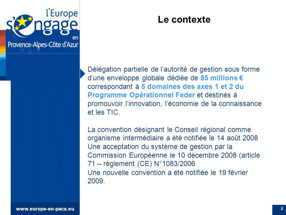 2 Le contexte Délégation partielle de lautorité de gestion sous forme dune enveloppe globale dédiée de 85 millions correspondant à 5 domaines des axes