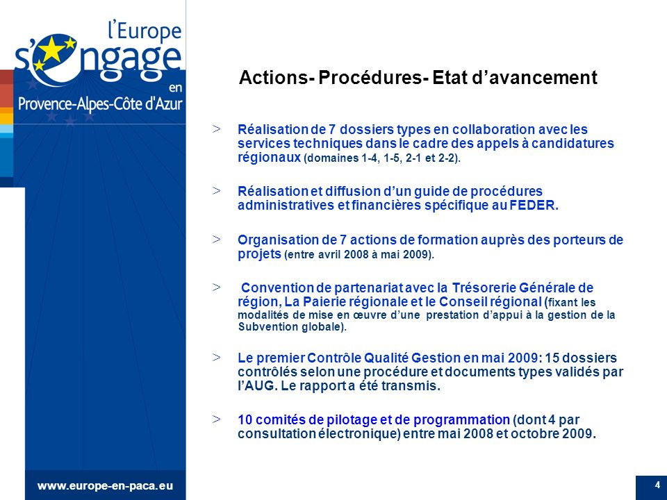 www.europe-en-paca.eu 5 Etat davancement de la programmation au 15 octobre 2009