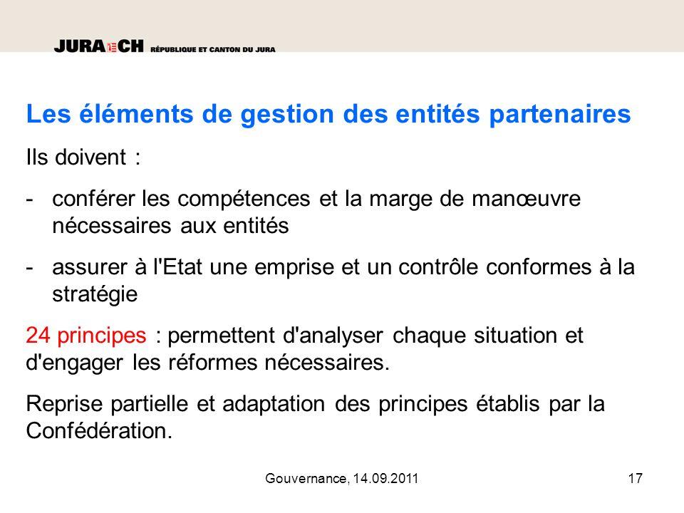 Gouvernance, 14.09.201118 Principe 1 : la forme juridique (de l établissement cantonal autonome à la SA).