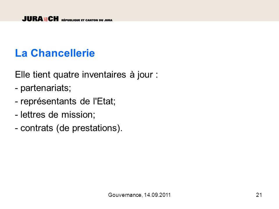 Gouvernance, 14.09.201122 Les représentants de l Etat Choix sur la base de critères arrêtés et nomination par le Gouvernement.