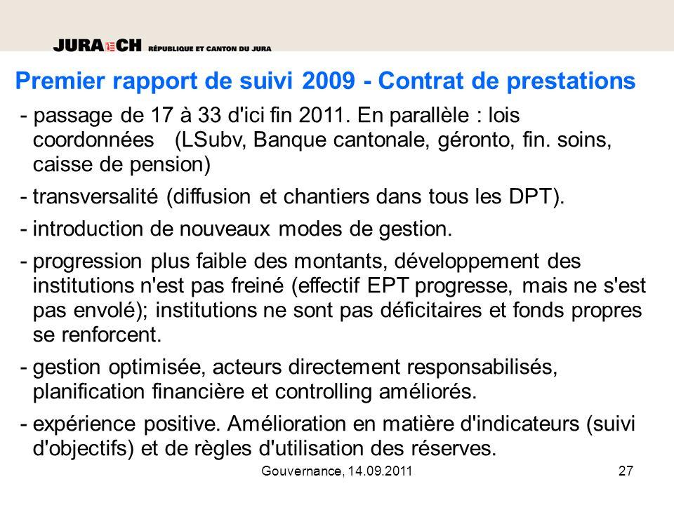 Gouvernance, 14.09.201128 2ème rapport de suivi 2010 – Constats principaux -première année complète.