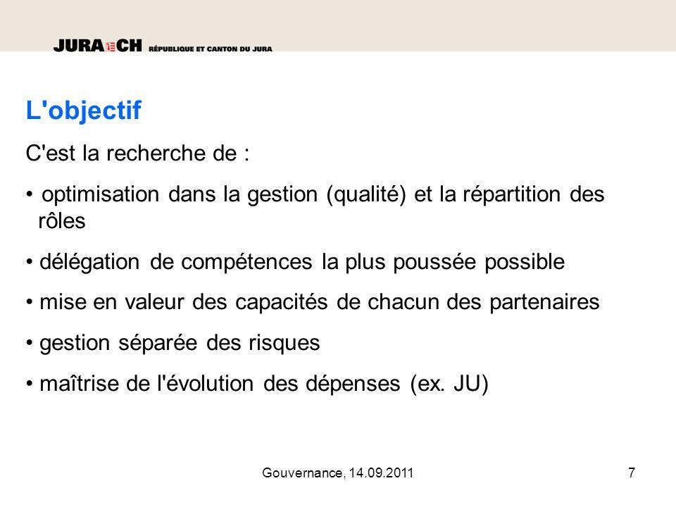 Gouvernance, 14.09.20118 Le projet est réalisé en 2 étapes 1 ère phase de conceptualisation : fév.
