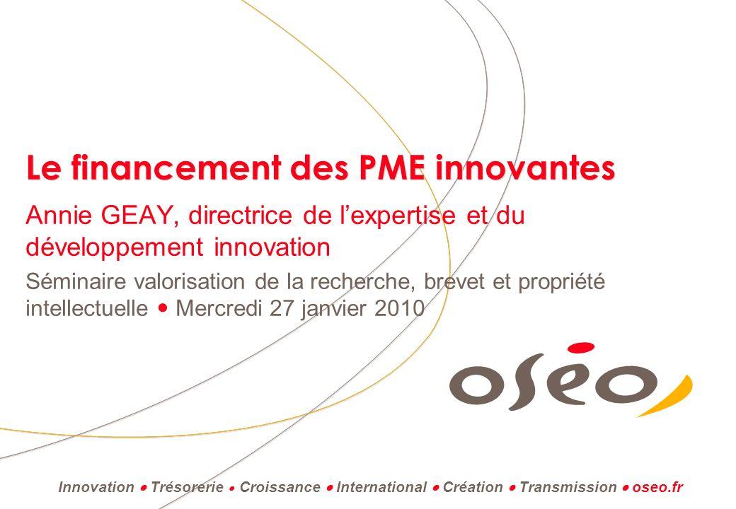 Journée valorisation – 27 janvier 2010 3 - Les PME innovantes mieux armées face à la crise (49e enquête de conjoncture OSEO (juin 2009) 51 % des PME innovantes prévoient une progression de leur activité en 2010, contre 11 % seulement une diminution, soit un solde positif de + 40.