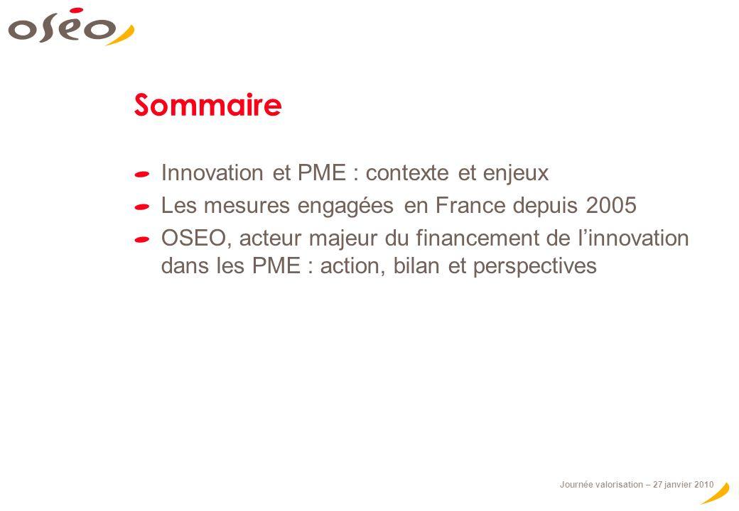 Journée valorisation – 27 janvier 2010 Sommaire Innovation et PME : contexte et enjeux Les mesures engagées en France depuis 2005 OSEO, acteur majeur du financement de linnovation dans les PME : action, bilan et perspectives