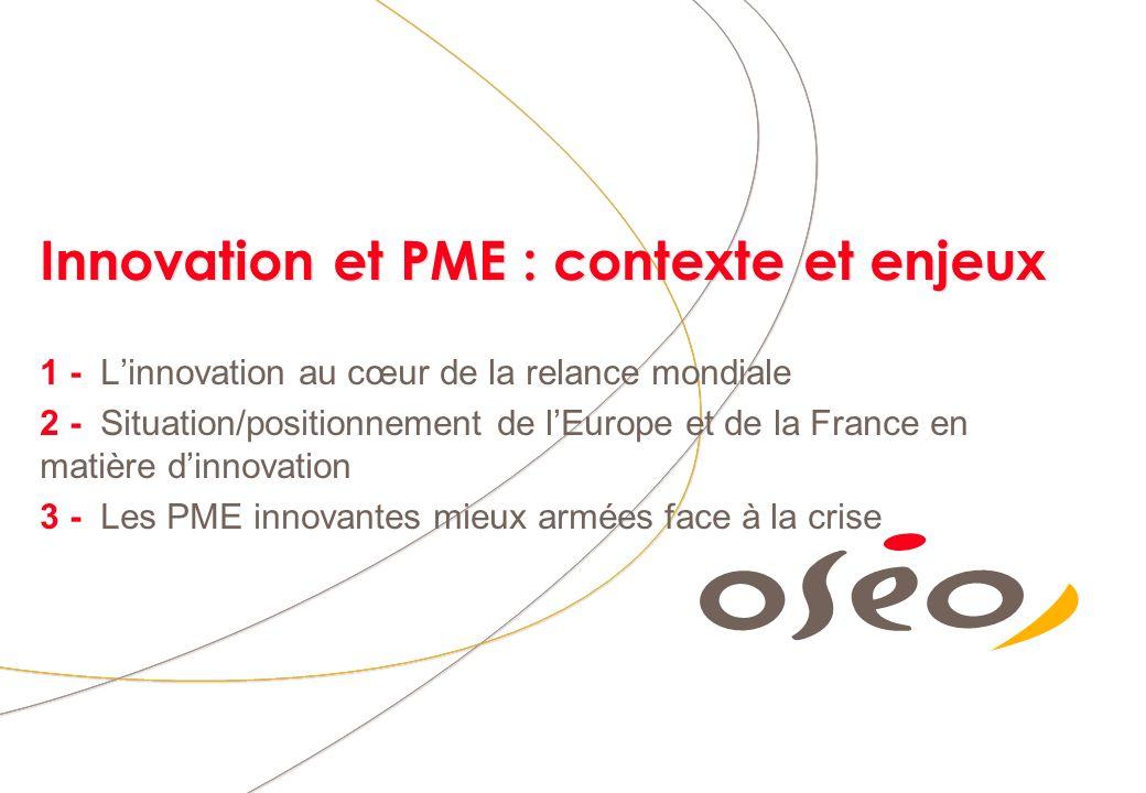 Innovation et PME : contexte et enjeux 1 - Linnovation au cœur de la relance mondiale 2 - Situation/positionnement de lEurope et de la France en matière dinnovation 3 - Les PME innovantes mieux armées face à la crise