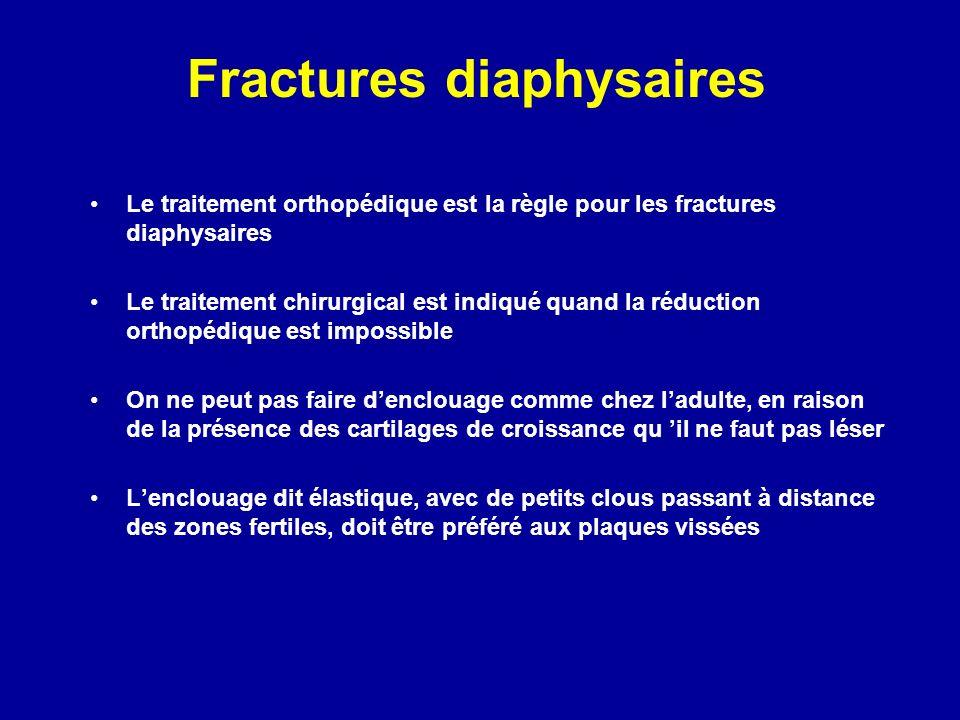 Le traitement orthopédique est la règle pour les fractures diaphysaires Le traitement chirurgical est indiqué quand la réduction orthopédique est impossible On ne peut pas faire denclouage comme chez ladulte, en raison de la présence des cartilages de croissance qu il ne faut pas léser Lenclouage dit élastique, avec de petits clous passant à distance des zones fertiles, doit être préféré aux plaques vissées Fractures diaphysaires