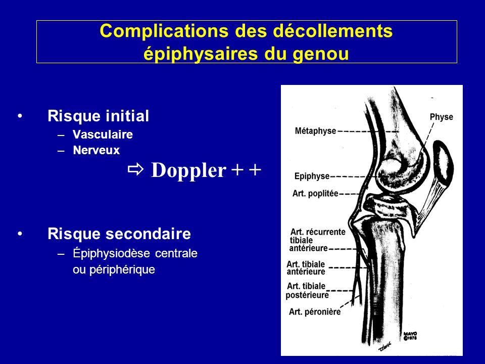 Risque initial –Vasculaire –Nerveux Risque secondaire –Épiphysiodèse centrale ou périphérique Complications des décollements épiphysaires du genou Doppler + +