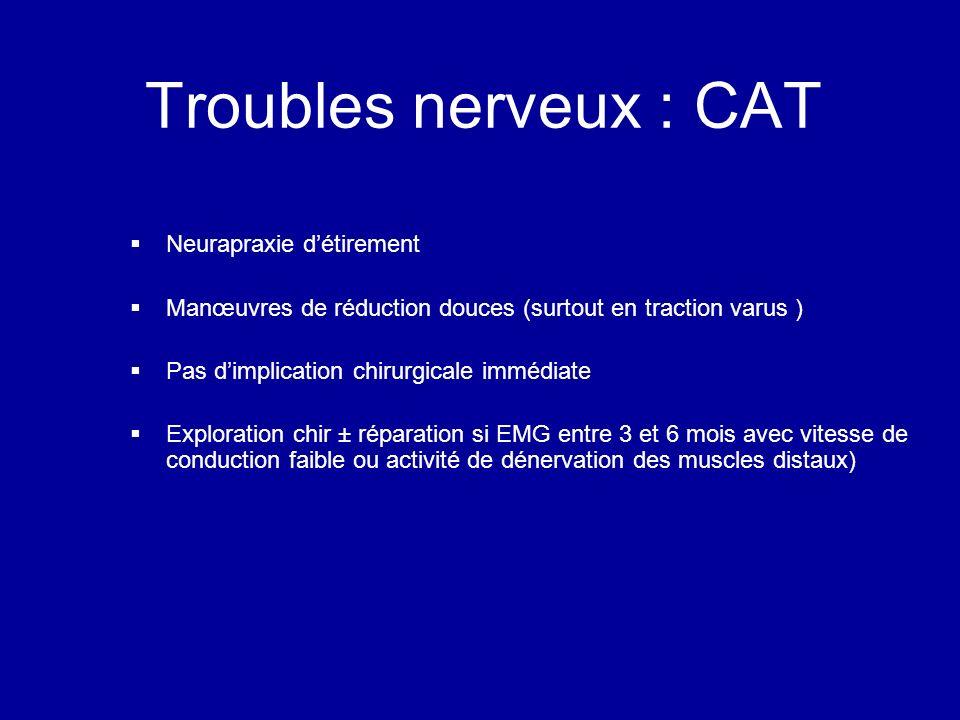 Troubles nerveux : CAT Neurapraxie détirement Manœuvres de réduction douces (surtout en traction varus ) Pas dimplication chirurgicale immédiate Exploration chir ± réparation si EMG entre 3 et 6 mois avec vitesse de conduction faible ou activité de dénervation des muscles distaux)