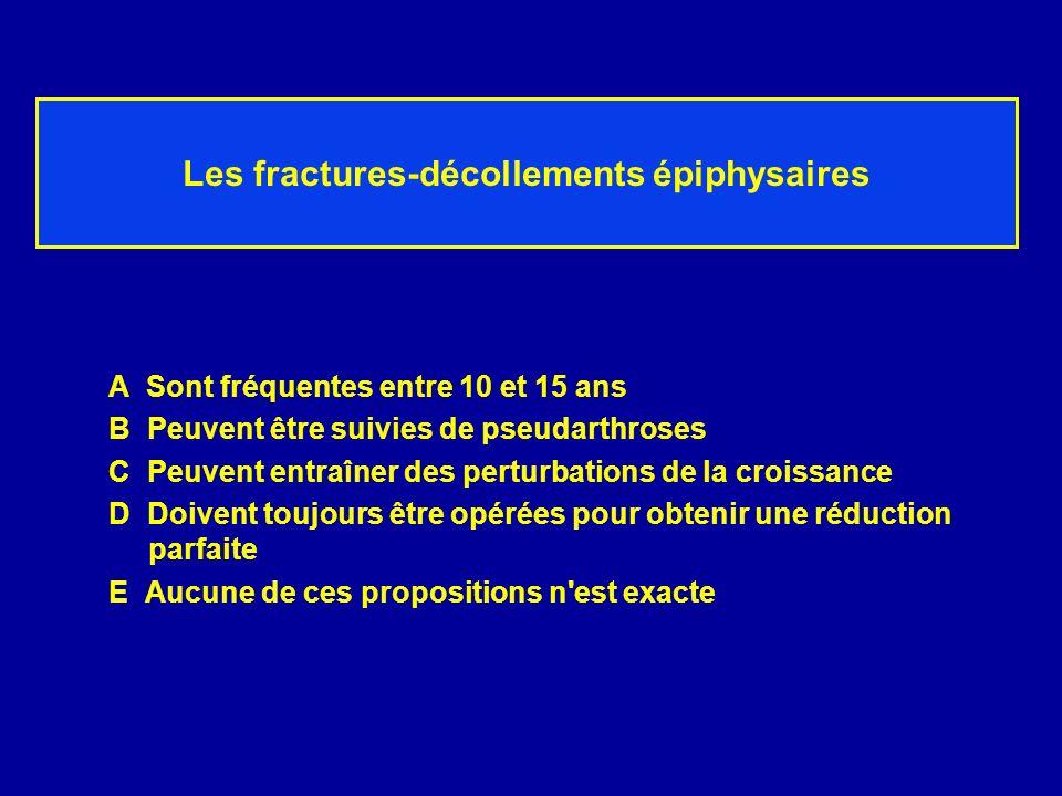 Les fractures-décollements épiphysaires A Sont fréquentes entre 10 et 15 ans B Peuvent être suivies de pseudarthroses C Peuvent entraîner des perturba