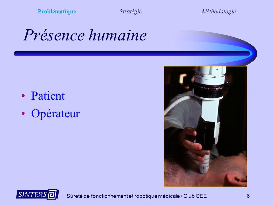 20/10/00Sûreté de fonctionnement et robotique médicale / Club SEE6 Présence humaine Patient Opérateur ProblématiqueStratégieMéthodologie