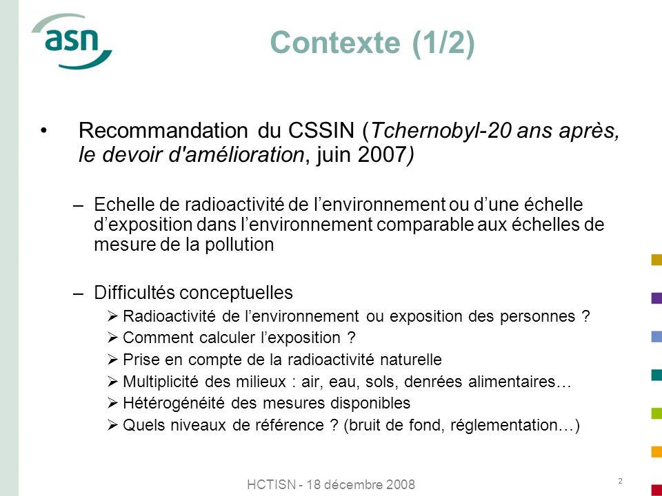 HCTISN - 18 décembre 2008 22 Contexte (1/2) Recommandation du CSSIN (Tchernobyl-20 ans après, le devoir d'amélioration, juin 2007) –Echelle de radioac