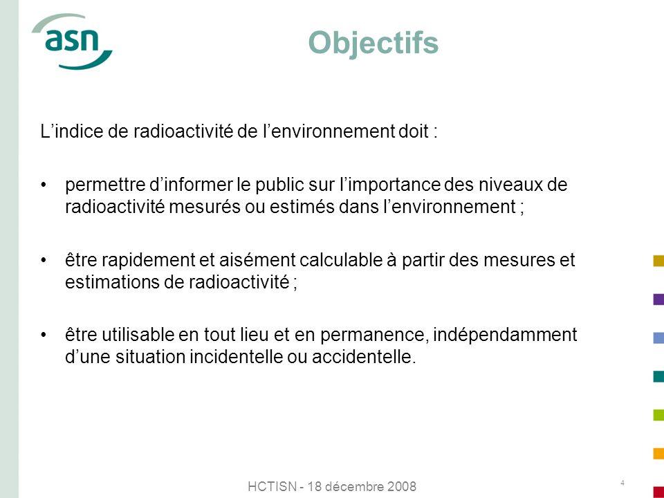 HCTISN - 18 décembre 2008 4 Objectifs Lindice de radioactivité de lenvironnement doit : permettre dinformer le public sur limportance des niveaux de r