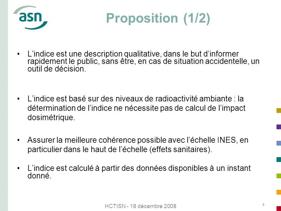 HCTISN - 18 décembre 2008 5 Proposition (1/2) Lindice est une description qualitative, dans le but dinformer rapidement le public, sans être, en cas d