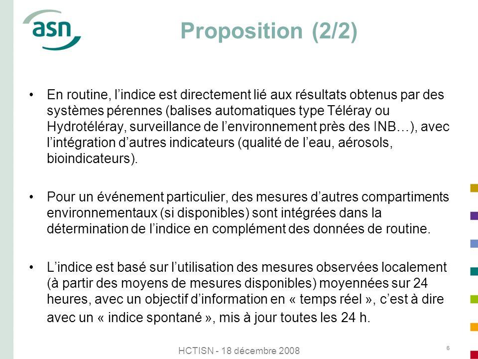 HCTISN - 18 décembre 2008 6 Proposition (2/2) En routine, lindice est directement lié aux résultats obtenus par des systèmes pérennes (balises automat