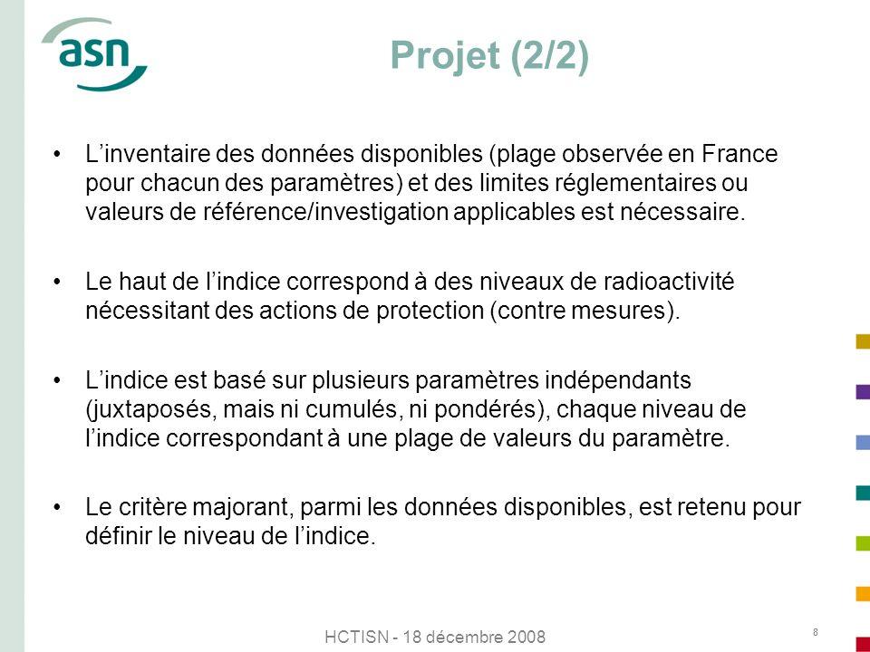 HCTISN - 18 décembre 2008 8 Projet (2/2) Linventaire des données disponibles (plage observée en France pour chacun des paramètres) et des limites régl