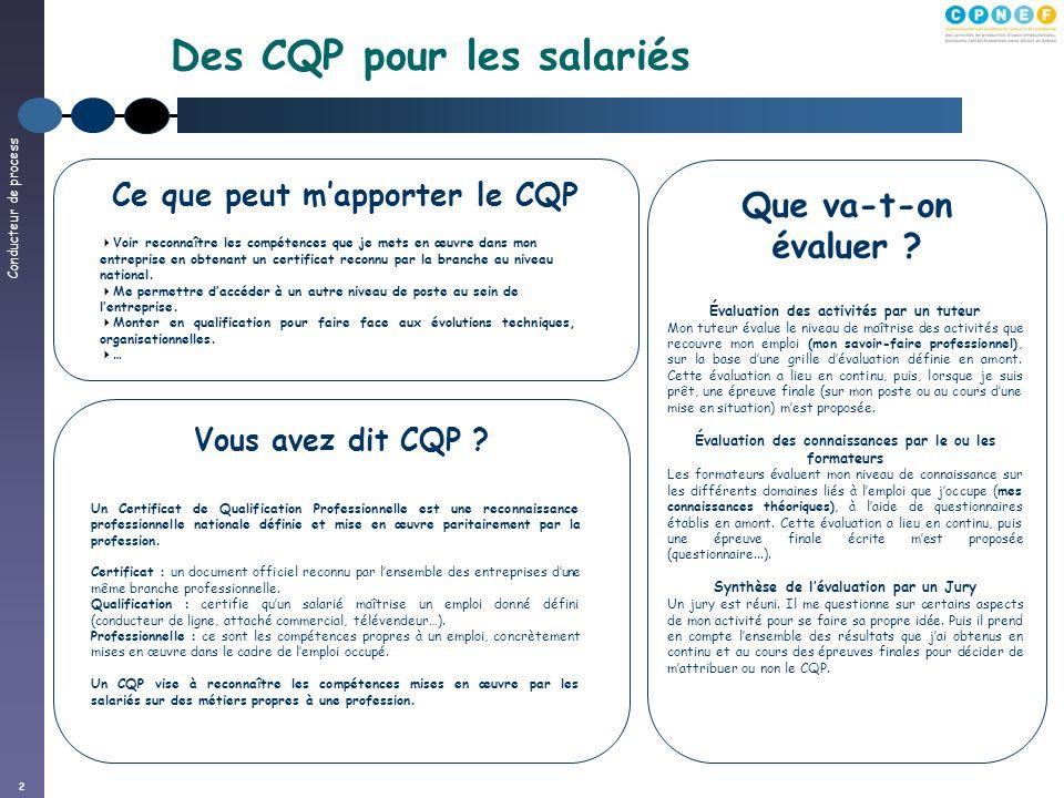 Conducteur de process 2 Des CQP pour les salariés Vous avez dit CQP ? Un Certificat de Qualification Professionnelle est une reconnaissance profession