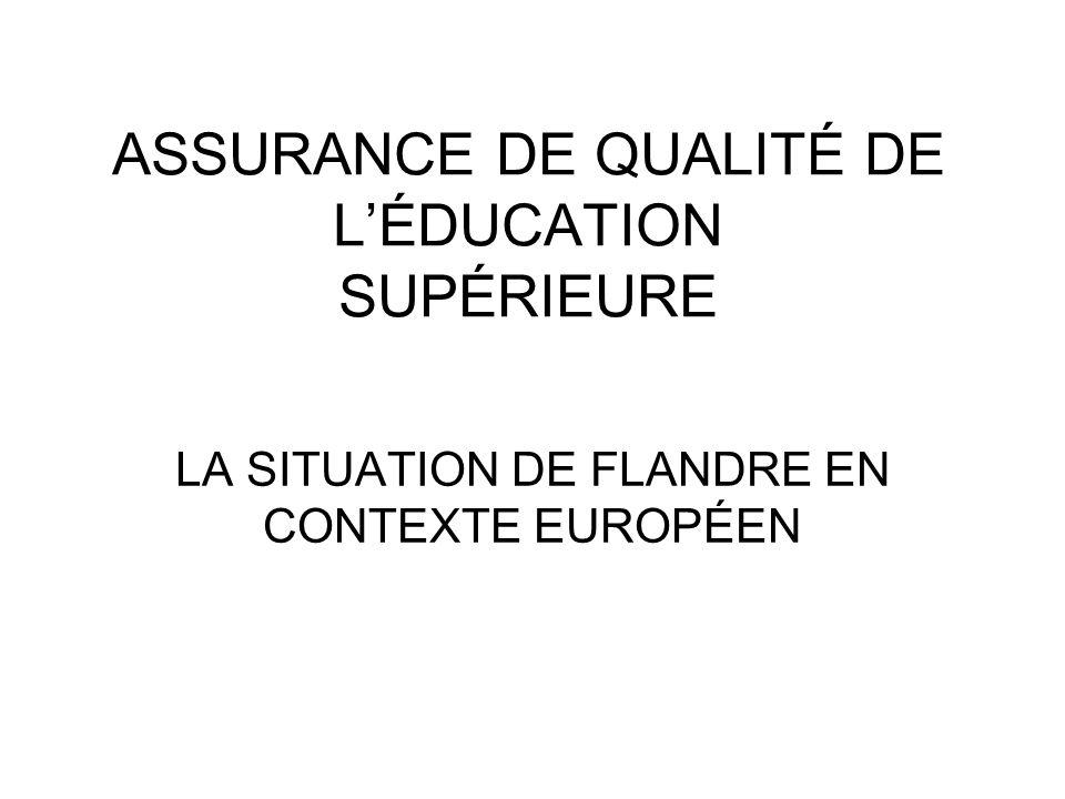 ASSURANCE DE QUALITÉ DE LÉDUCATION SUPÉRIEURE LA SITUATION DE FLANDRE EN CONTEXTE EUROPÉEN