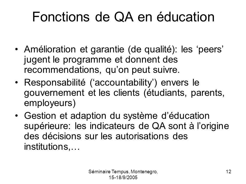 Séminaire Tempus, Montenegro, 15-18/9/2005 12 Fonctions de QA en éducation Amélioration et garantie (de qualité): les peers jugent le programme et donnent des recommendations, quon peut suivre.