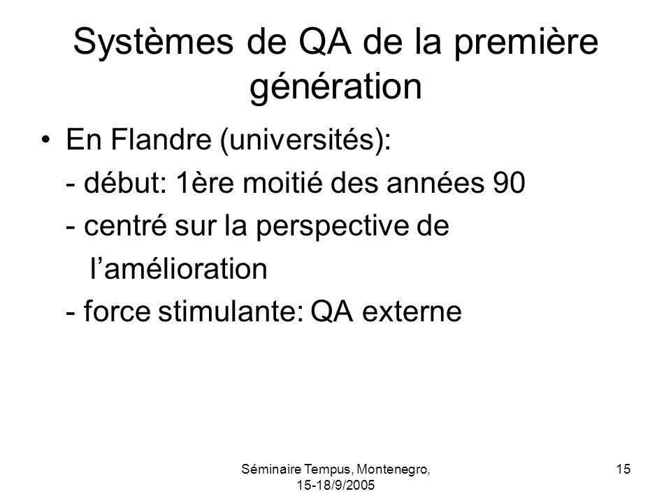 Séminaire Tempus, Montenegro, 15-18/9/2005 15 Systèmes de QA de la première génération En Flandre (universités): - début: 1ère moitié des années 90 - centré sur la perspective de lamélioration - force stimulante: QA externe