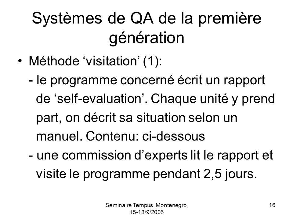 Séminaire Tempus, Montenegro, 15-18/9/2005 16 Systèmes de QA de la première génération Méthode visitation (1): - le programme concerné écrit un rapport de self-evaluation.