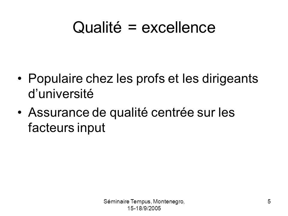 Séminaire Tempus, Montenegro, 15-18/9/2005 5 Qualité = excellence Populaire chez les profs et les dirigeants duniversité Assurance de qualité centrée sur les facteurs input