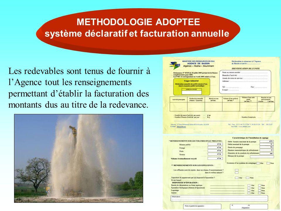 METHODOLOGIE ADOPTEE système déclaratif et facturation annuelle Les redevables sont tenus de fournir à lAgence tout les renseignements permettant déta