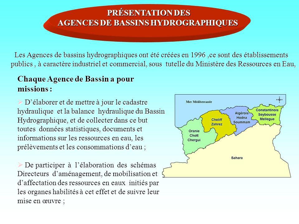 PRÉSENTATION DES AGENCES DE BASSINS HYDROGRAPHIQUES Les Agences de bassins hydrographiques ont été créées en 1996,ce sont des établissements publics,