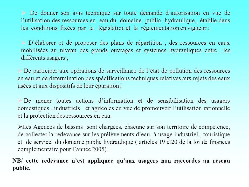 De donner son avis technique sur toute demande dautorisation en vue de lutilisation des ressources en eau du domaine public hydraulique, établie dans