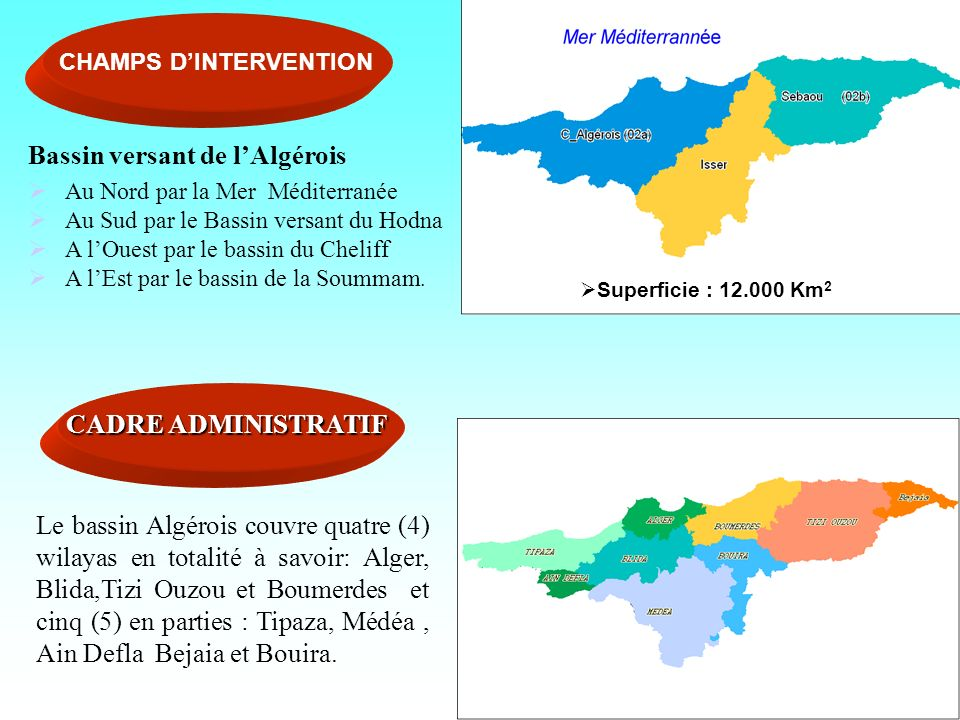 Superficie : 12.000 Km 2 Superficie : 12.000 Km 2 CHAMPS DINTERVENTION Bassin versant de lAlgérois Au Nord par la Mer Méditerranée Au Sud par le Bassi