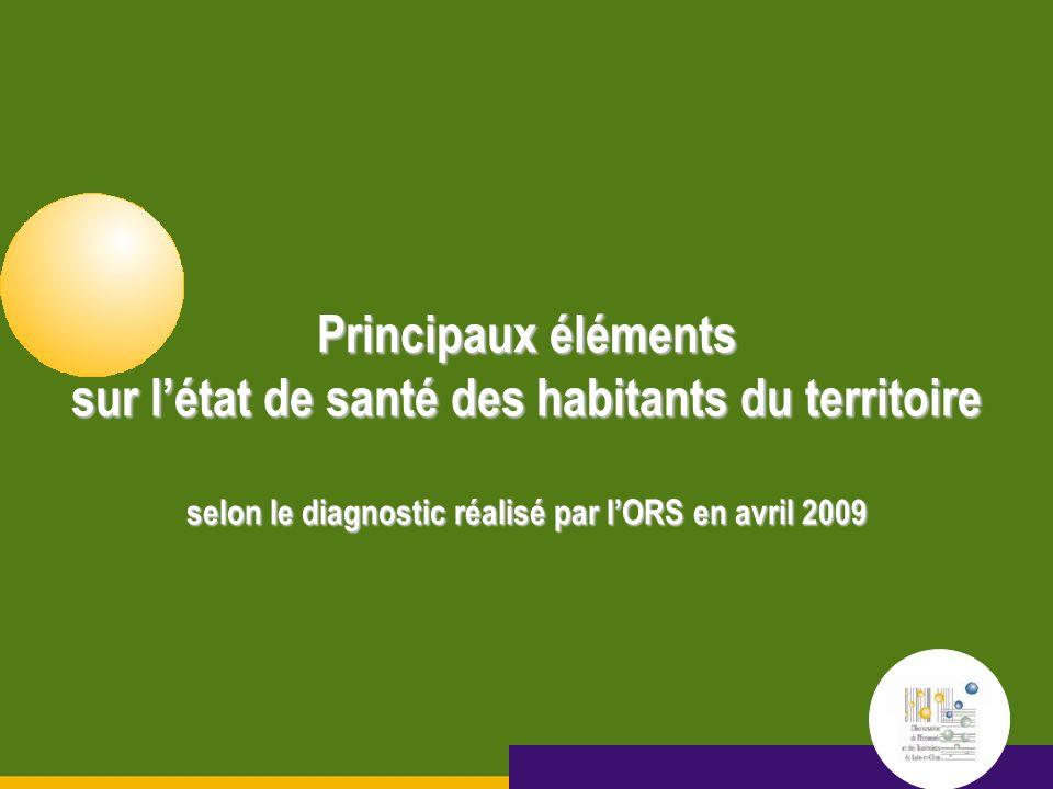 Octobre 2005 15 septembre 2005 Principaux éléments sur létat de santé des habitants du territoire selon le diagnostic réalisé par lORS en avril 2009