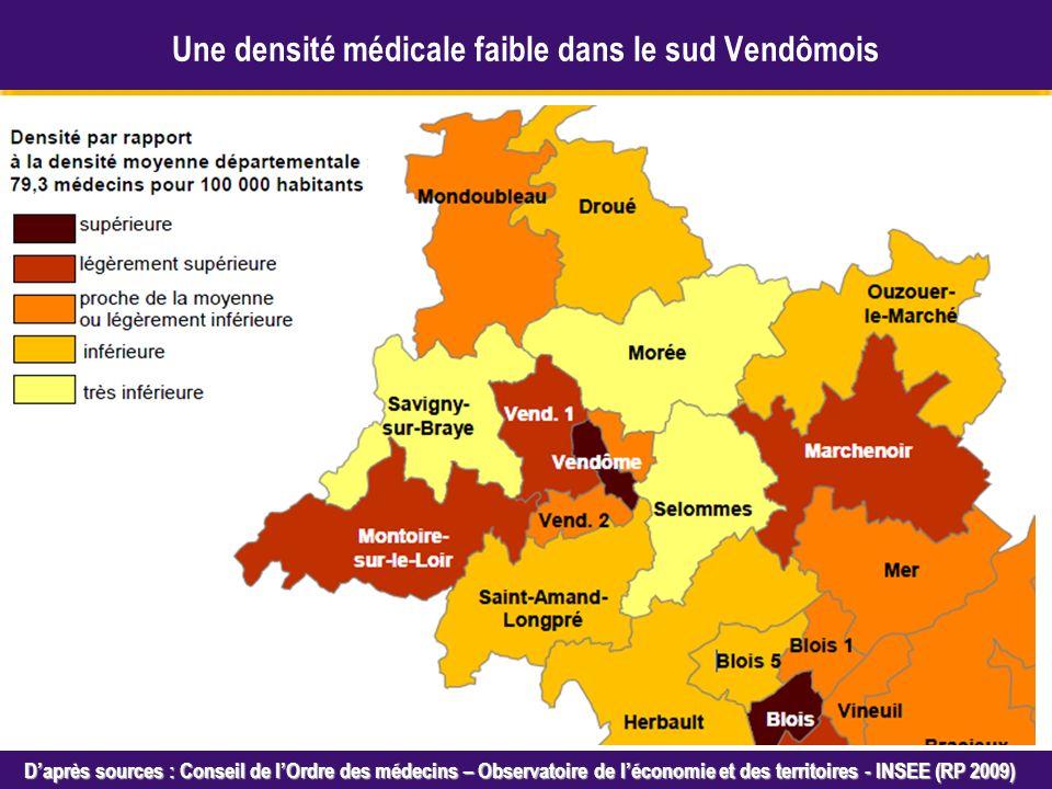 Octobre 2005 Daprès sources : Conseil de lOrdre des médecins – Observatoire de léconomie et des territoires - INSEE (RP 2009) Une densité médicale faible dans le sud Vendômois