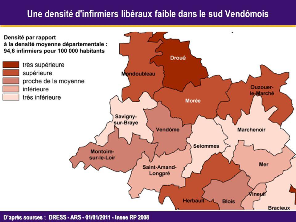 Octobre 2005 Daprès sources : DRESS - ARS - 01/01/2011 - Insee RP 2008 Une densité d infirmiers libéraux faible dans le sud Vendômois