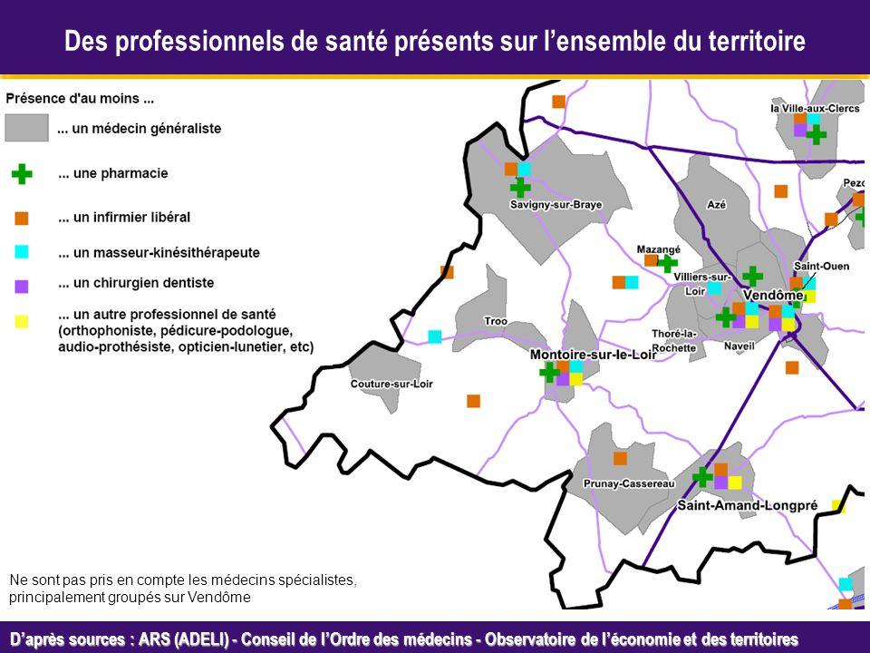 Octobre 2005 Daprès sources : ARS (ADELI) - Conseil de lOrdre des médecins - Observatoire de léconomie et des territoires Des professionnels de santé présents sur lensemble du territoire Ne sont pas pris en compte les médecins spécialistes, principalement groupés sur Vendôme